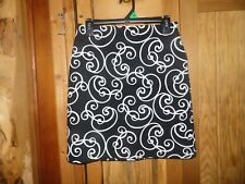 Ann Taylor  Womens 2P Lined Skirt Cute Black & White Swirl Pattern Dress/Casual