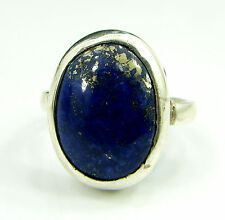 925 Solid Sterling Silver Handmade Blue Lapis Lazuli Stone Ring Size 6 US - 1020