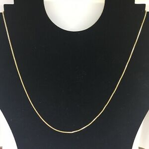 9ct Yellow Gold Box Chain Necklace 20 Inches Hallmarked