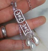 SWZ Biwa Perlen Anhänger Silber 925  Kette UNIKAT Collier bis 50cm Art Déco Deco