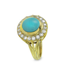 Turquoise and Diamond Ring in 18K Yellow Gold | FJ