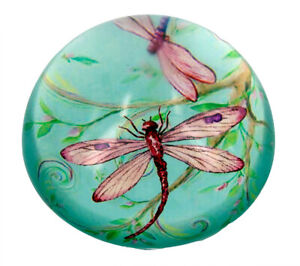 Green Dragonfly Crystal Paperweight - 8cms dia. x 4cms high. - AU Seller