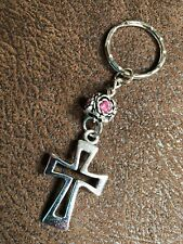 cross with rose bead pink rhinestone silver tone  keychain gift keyring#10A
