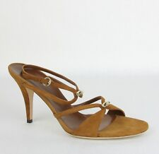 7a54ec48f80 Gucci Brown Suede Sandal Heel w light Gold Bamboo Details 9.5B 190465 2535