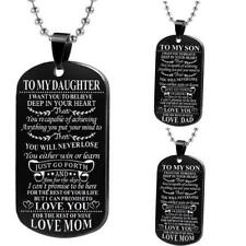 Stainless Steel Daughter Son Dog Tag Necklace Mother Father Mom Dad Best Friend