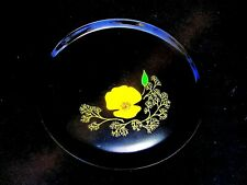 Vintage 1960'S Round Modernist California Poppy Inlaid Tray By Couroc