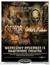 """KREATOR/OVERKILL/WARBRINGER """"LEGENDS OF THRASH TOUR""""2013 PORTLAND CONCERT POSTER"""