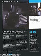 Prospetto Phase One H 10 Digital BACK medio formato telecamere 10/02 brochure OPUSCOLO