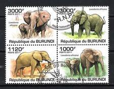 Animaux Eléphants Burundi (119) série complète 4 timbres oblitérés