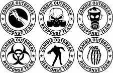6 x Various Zombie Outbreak Response Team Cool Funny Vinyl Decal Sticker VW JDM