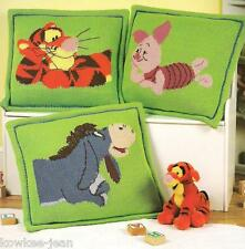 Disney pooh pillow afghan sets knitting pattern booklet Cuddle & Snooze Sets