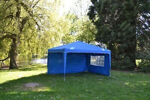 Faltpavillon 3x4m Klappzelt Gartenzelt Popup 100%Wasserdicht +2-Seitenteile BLAU
