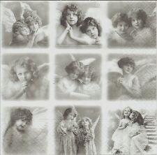 2 Serviettes en papier Patchwork Ange Sagen Vintage Nostalgie Paper Napkin Angel