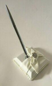 White Satin Wedding w/Rhinestone on Satin Bow Guest Book Pen