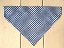 Handmade Sky Blue Gingham Over Collar Dog Bandana - Size Small