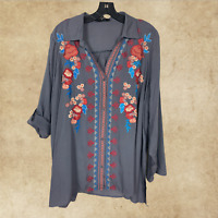 Plus Size Boho Hippie ANDREE BY UNIT Embroidered Tunic Top Long Sleeve 1X 2X 3X