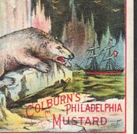 Polar Bear 1800's Arctic Night Ship Colburns Phila Mustard Victorian Trade Card
