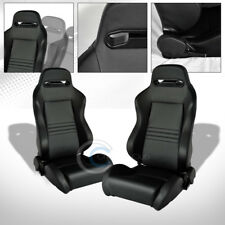 2X UNIVERSAL TR BLK STITCH PVC LEATHER RECLINABLE RACING BUCKET SEATS+SLIDER C27