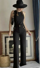 NWT ZARA High Waisted Buttoned Black Long Pants Sailor XS Sold Out