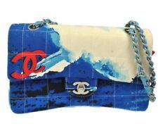 Vintage Authentic CHANEL Surf Line Quilted Chain Shoulder Bag Blue Vintage