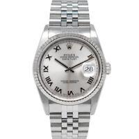 Rolex Men's Datejust 36 White Gold & Steel 16234 Wristwatch - Rhodium Roman Dial