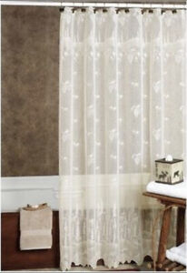 """HERITAGE LACE PINECONE SHOWER CURTAIN 72""""X 72"""" ECRU (BEIGE) NEW MADE IN THE USA"""
