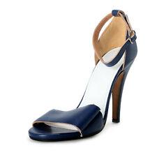 Maison Margiela 22 Mujer Cuero Azul Zapatos Sandalias Tacón Alto Ee. Uu. 7 It 37