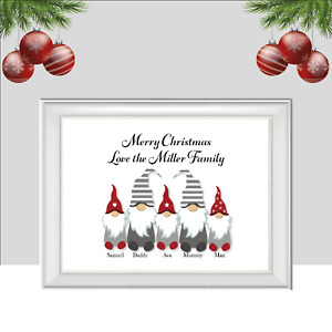 Personalised  Gnome Family Print, Christmas Print, Gonk Xmas Poster, Gift, Home