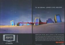 "Sharp Aquos LCD TV ""TV Is Dead Long Live Aquos"" 2003 2 Page Magazine Advert#3094"