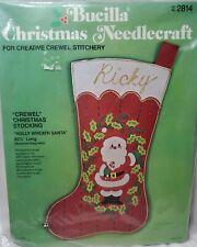 Rare! Vintage Bucilla Christmas Holly Wreath Santa Stocking Felt Embroidery Kit