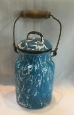 Vintage Graniteware Enamelware Blue & White Swirl Cream Can Milk Pail