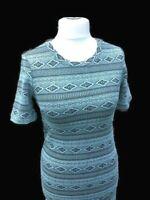 Teal Blue/Green Diamond Print Body-con  Wiggle Stretch  Dress Size 12 Round Neck