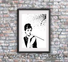Audrey Hepburn Street Art Lona Pared Arte A4, Desayuno En Tiffanys
