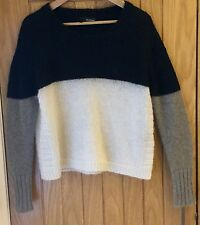 The Kooples Colour Block Black Grey Cream Mohair Jumper - Size L 12 14 16