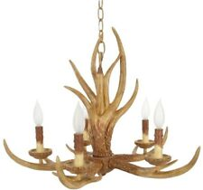 Deer Antler Chandelier Light Fixture Hanging 5-Light Mount Rustic Natural Cabin