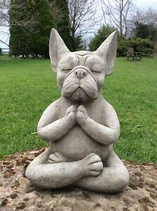 Steinfigur Frenchie Französische Bulldogge Yoga massiv Gartenfigur Frenchy groß