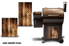 Traeger Grill Decal Pellet Lid, Door Skin Wrap for Costco Century WOOD FLAG