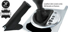 BLACK & BLACK REAL LEATHER AUTO AUTOMATIC BOOT SET FOR AUDI TT MK2 2006-2014