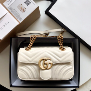 Authentic Gucci GG Marmont Mini Bag Leather White.