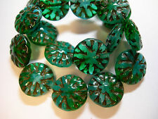 10 14mm Czech Glass Green and Aqua Blend Dahlia Flower Coin Beads