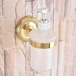 Gold Color Brass Wall Mount Kitchen & Bathroom Sink Liquid Soap Dispenser Gba589