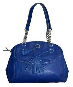 B. Makowsky Pebbled Leather Womens Satchel Handbag Shoulder Bag Purse Blue