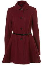 Nuevo abrigo con faldón de costura TOPSHOP expuestos Reino Unido 16 in (approx. 40.64 cm) Ciruela