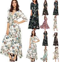 Women's Short Sleeve Summer Long Maxi Canonicals Floral Beach Fashion Sexy Dress