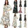 Women's Short Sleeve Summer Long Maxi Canonicals Floral Beach Fashion Sexy Dress