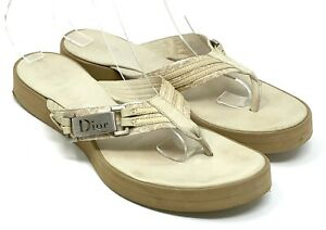 Authentic Christian Dior Trotter Monogram Logo Thong Sandals #36 Beige Silver