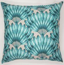 Handmade Teal Feather Fan Home Decor Cushion Cover  45x45  New