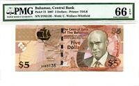 BAHAMAS 5 DOLLARS 2007 BAHAMAS CENTRAL BANK GEM UNC PICK 72 VALUE $220
