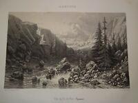 Eugène CICÉRI (1813-1890) LITHO PAYSAGE PIC de PAU PYRENEES MONTAGNE 1850