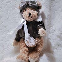 "Unipak Teddy Bear Pilot Plush Stuffed Animal Toy 11"" Bomber Jacket Flying Hat"